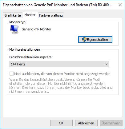 Windows 10 Hertz Einstellen