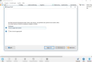 syncbackfree backup einrichten Profil